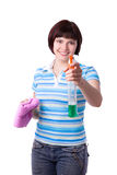 Woman holding wIndow cleaner and a rag. Stock Photo