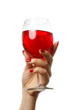 Woman holding a wine glass. On white background royalty free stock photography