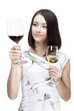 Woman holding wine glass Stock Image