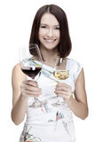 Woman holding wine glass royalty free stock image