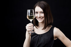 Woman holding wine glass Stock Photo