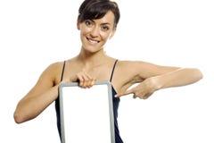 Woman holding wipe board Stock Photo