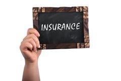 Insurance on chalkboard stock photos