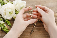 Free Woman Holding Wooden Rosary In Hands. Stock Photography - 52378082