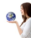Woman holding the world Stock Photography