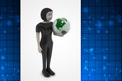 Woman is holding world globe Royalty Free Stock Image