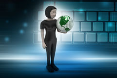 Woman is holding world globe Stock Photography