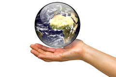 Woman holding the world on a white background Stock Images