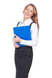 Woman holding writing pad and laughing Stock Images