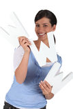 Woman holding WWW letters Stock Photo