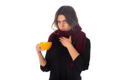 Woman holding a yellow cup Royalty Free Stock Image