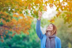 Woman holding yellow maple tree leaf in autum park. Young redhead woman in blue coat holding yellow maple tree leaf in autum park Stock Image