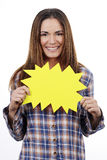 Woman holding yellow panel Royalty Free Stock Image