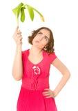 Woman holding yellow tulip Stock Image
