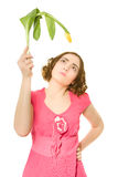 Woman holding yellow tulip Royalty Free Stock Photo