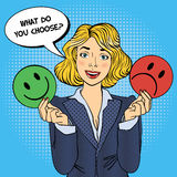 Woman Holdings Emoticons in her Hands. Pop Art Stock Photo
