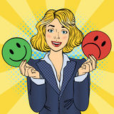 Woman Holdings Emoticons in her Hands. Pop Art Stock Image