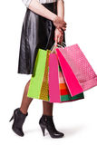 Woman holds bag Royalty Free Stock Image