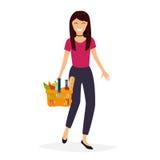 Woman holds with basket foods. Flat design modern vector illustr Stock Images