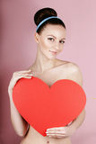 woman holds big red heart i love you in her hands Royalty Free Stock Photo