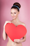woman holds big red heart i love you in her hands Stock Photo