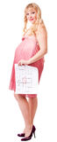 Woman holds a birth calendar Stock Photography
