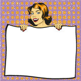 Woman holds blank white paper poster. Pop art comic retro style vector illustration. Put your own text template Stock Photos