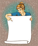 Woman holds blank white paper poster. Pop art comic retro style vector illustration. Put your own text template Royalty Free Stock Photo