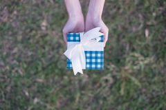 A woman holds a blue giftbox with hands on a turf background stock photography