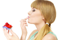 Woman holds cake strawberry cupcake Stock Photography