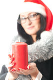 Woman holds a candle Royalty Free Stock Photos
