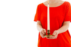 The woman holds a candle in hands Stock Images