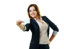 Woman holds card Royalty Free Stock Photo