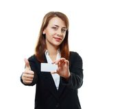 Woman holds card Stock Photos