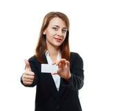Woman holds card Stock Photos