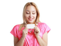 Woman holds card Stock Image