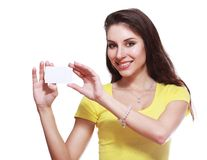 Woman holds card Stock Photo