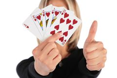 Woman holds cards Royalty Free Stock Photo