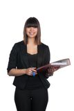 Woman holds a file and a pen Stock Photography