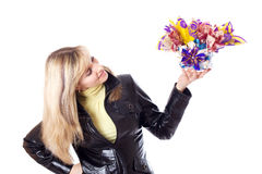 Woman holds gift in her hands Royalty Free Stock Image