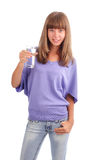 Woman holds a glass of pure water Stock Images