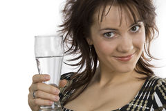 Woman holds glass water Royalty Free Stock Photos