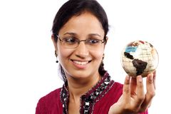 Woman holds the globe Royalty Free Stock Photos