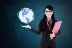 Woman holds globe with network connection Royalty Free Stock Images