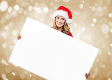 Woman holds hands: Blank White Board Royalty Free Stock Photo