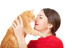 Woman holds in hands red cat Stock Photos