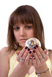 The woman holds hands sphere. Stock Image