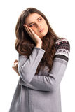 Woman holds head with hand. Royalty Free Stock Photos