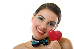 Woman holds a heart Royalty Free Stock Image