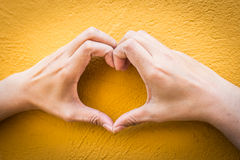 Woman holds heart shape Stock Images